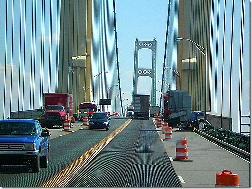 Mackinac Bridge construction zone