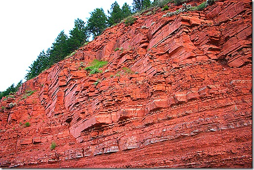 Red rock cliff face