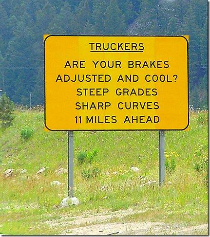 Truck brakes warning sign