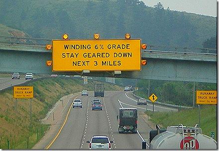 truck winding grade sign