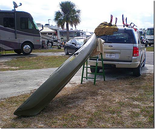 Kayak on ladder
