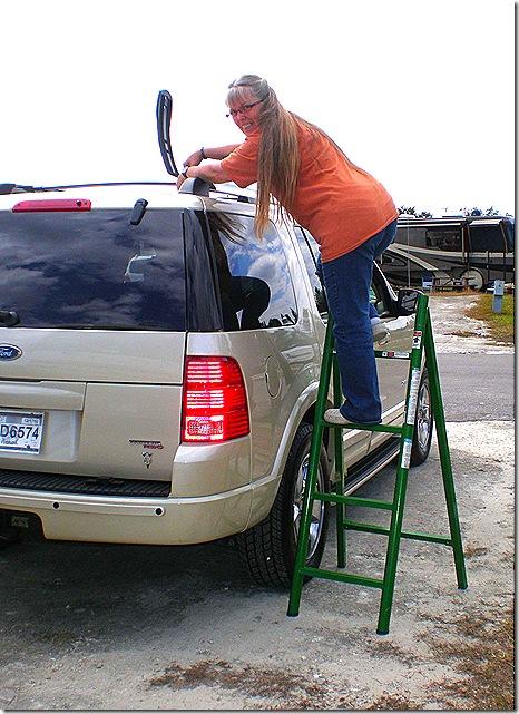Terry mounting old kayak rack