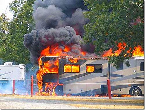 RV motorhome fire