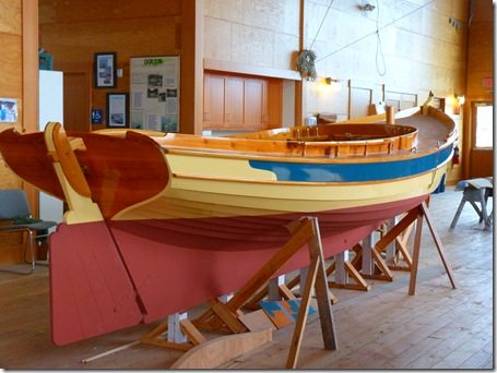 Wooden boat in rack