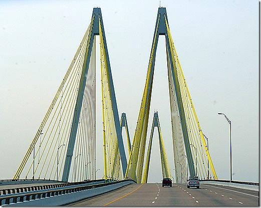 Fred Hartman bridge on top