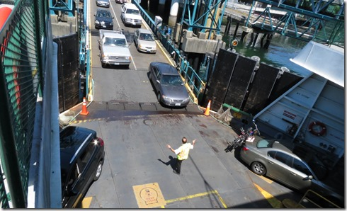 Cars loading on ferry