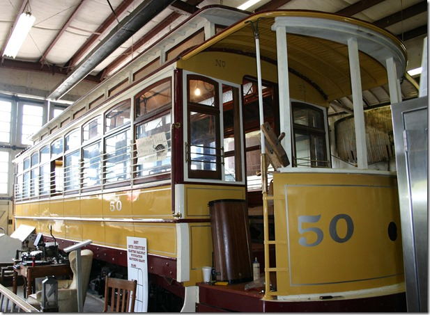 Fort Smith Trolley Museum car in shop