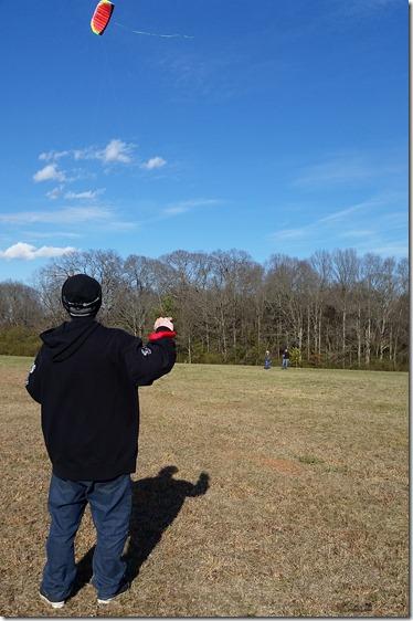 Travis flying kite