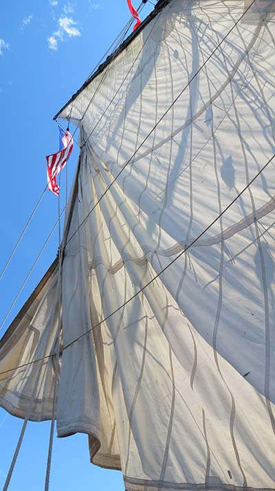 Sails going up